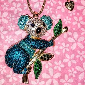 Betsey Johnson Crystal Kuhala Bear Necklace